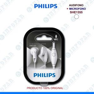 AUDIFONO CON MICROFONO PHILIPS SHE1355 BLANCO