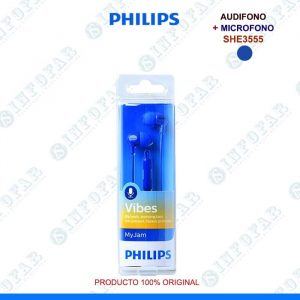 AUDIFONO CON MICROFONO PHILIPS SHE3555 AZUL