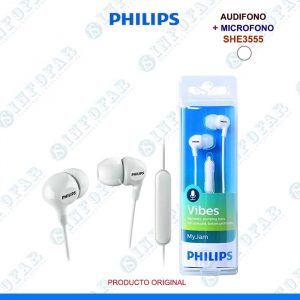 AUDIFONO CON MICROFONO PHILIPS SHE3555WT BLANCO