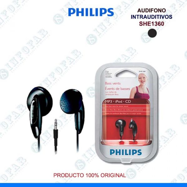 AUDIFONO PHILIPS SHE1360 NEGRO