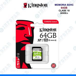MEMORIA KINGSTON SDHC 64GB CLASE 10