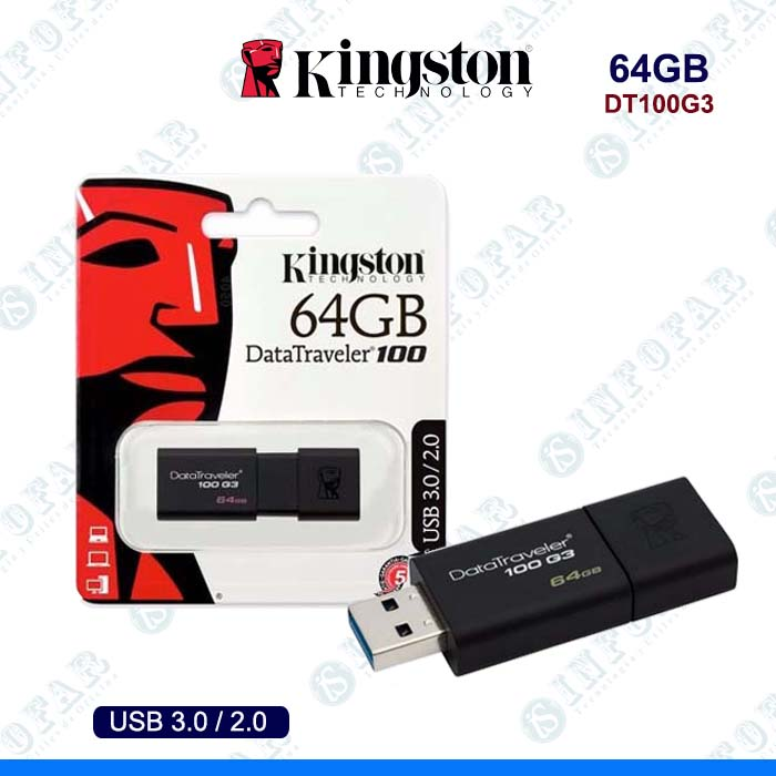 USB 64GB KINGSTON DT100G3 NEGRO
