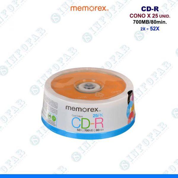 CD-R MEMOREX CONO X 25 UNID